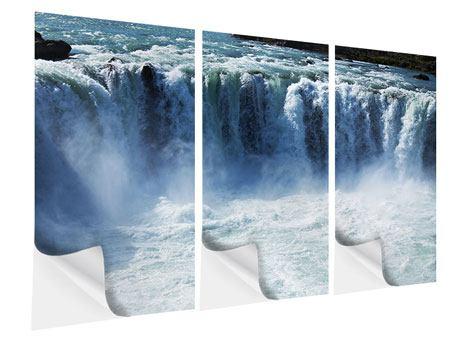 Klebeposter 3-teilig Mächtiger Wasserfall