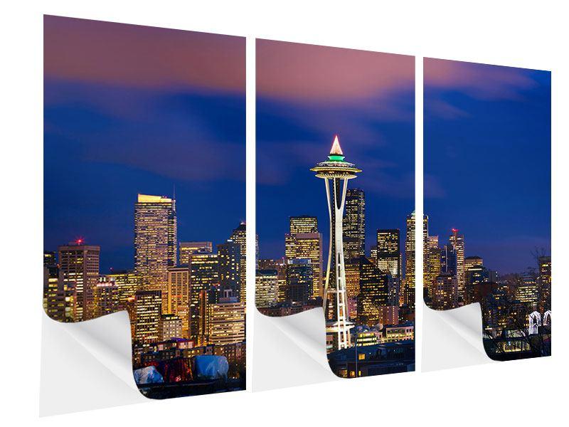 Klebeposter 3-teilig Skyline Seattle
