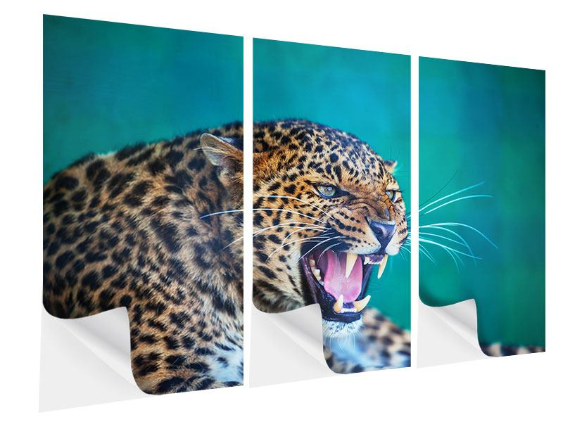 Klebeposter 3-teilig Achtung Leopard