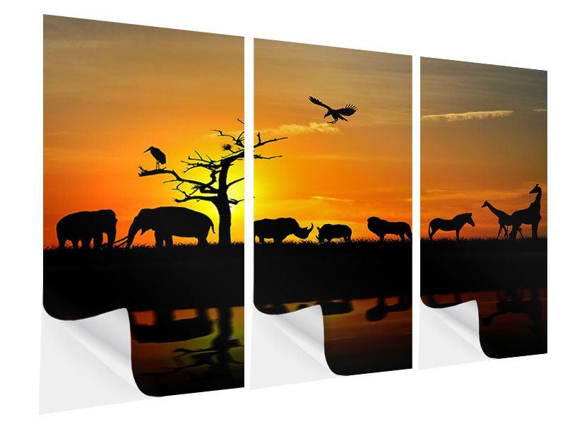 Klebeposter 3-teilig Safarietiere bei Sonnenuntergang