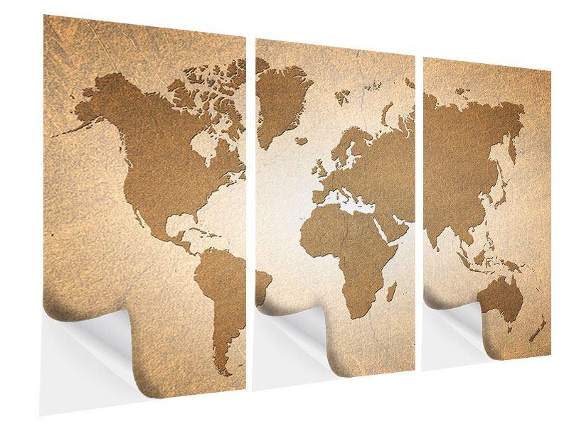 Klebeposter 3-teilig Karte der Welt in Vintage