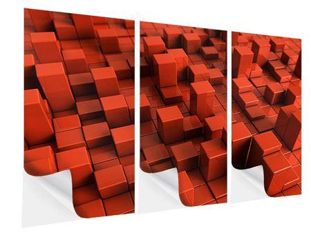 Klebeposter 3-teilig 3D-Rechtkant