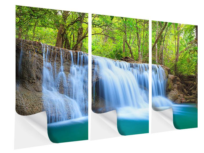 Klebeposter 3-teilig Wasserfall Si Nakharin