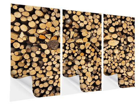 Klebeposter 3-teilig Brennholz
