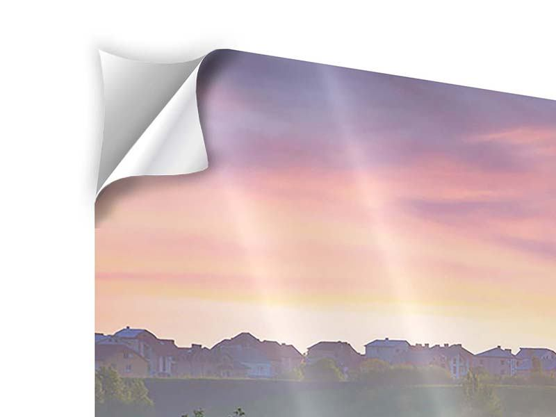 Klebeposter 3-teilig Sonnenuntergang am Hügel
