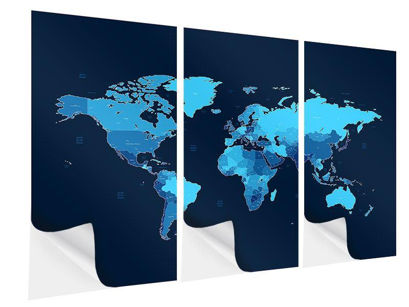 Klebeposter 3-teilig Weltkarte