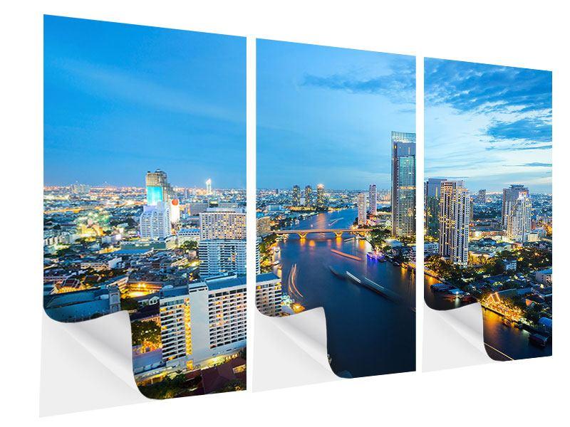 Klebeposter 3-teilig Skyline Bangkok in der Abenddämmerung