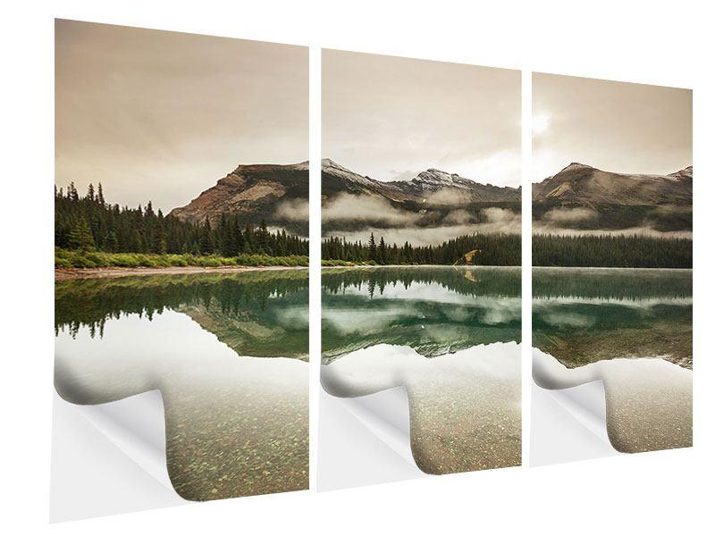 Klebeposter 3-teilig Spiegelung im Glacier Nationalpark
