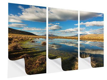 Klebeposter 3-teilig Wasserspiegelung am See