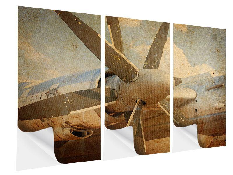 Klebeposter 3-teilig Propellerflugzeug im Grungestil