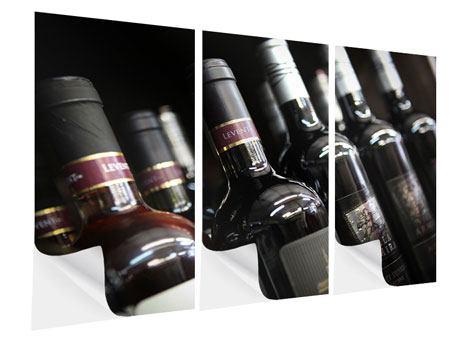 Klebeposter 3-teilig Flaschenweine