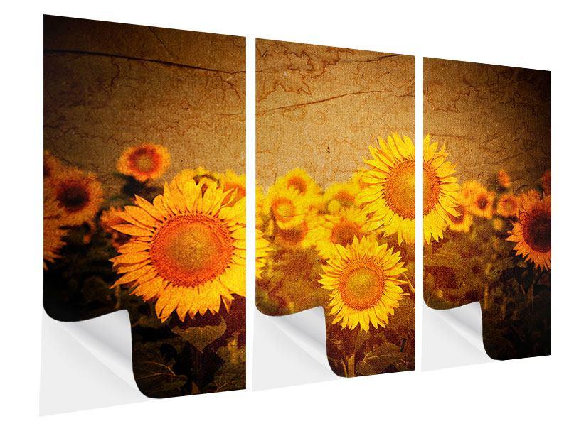 Klebeposter 3-teilig Retro-Sonnenblumen