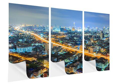 Klebeposter 3-teilig Skyline Bangkok im Fieber der Nacht