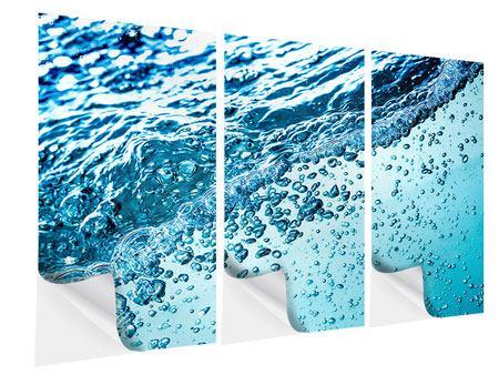 Klebeposter 3-teilig Wasser in Bewegung
