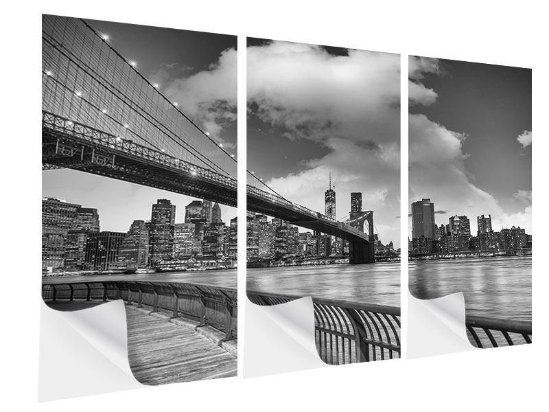 Klebeposter 3-teilig Skyline Schwarzweissfotografie Brooklyn Bridge NY