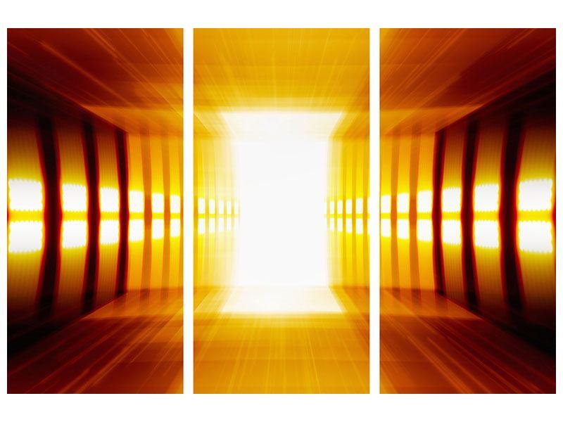 Klebeposter 3-teilig Abstrakter Goldener Raum