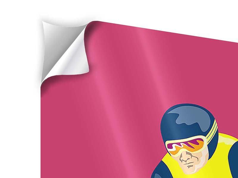 Klebeposter 3-teilig Retro-Skifahrer