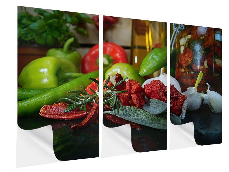 Klebeposter 3-teilig Mediterranes Gemüse