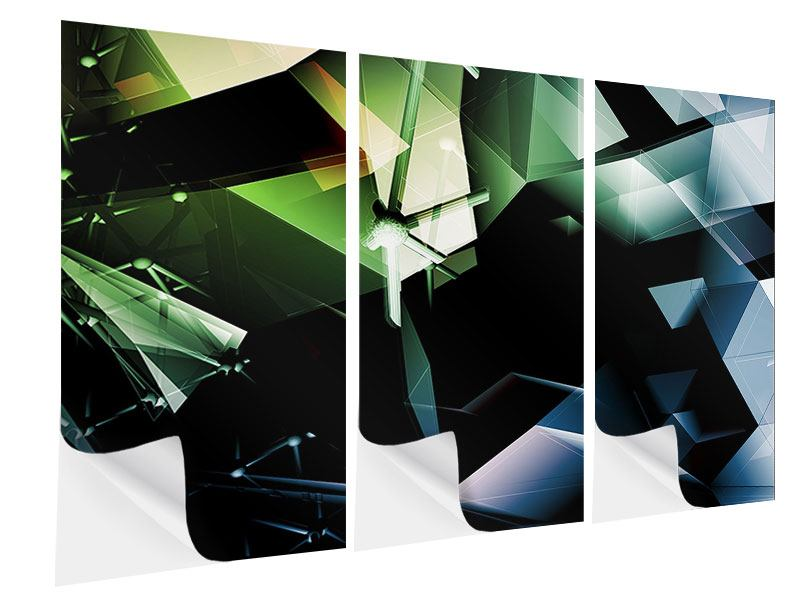 Klebeposter 3-teilig 3D-Polygon