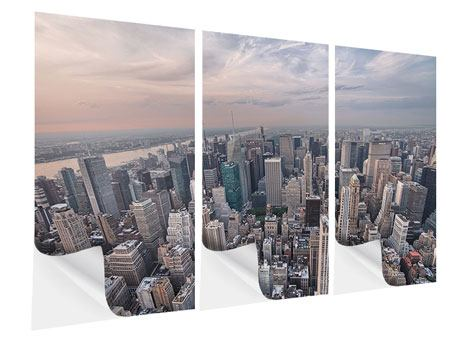 Klebeposter 3-teilig Skyline Blick über Manhattan