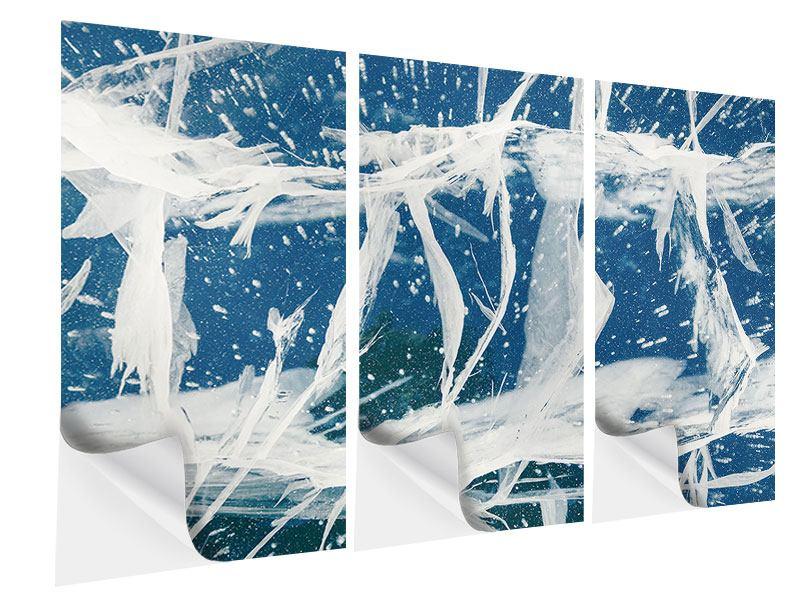 Klebeposter 3-teilig Eiskristalle