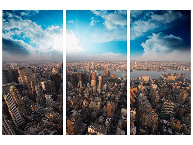 Klebeposter 3-teilig Skyline Über den Dächern von Manhattan