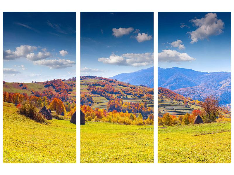 Klebeposter 3-teilig Herbstliche Berglandschaft