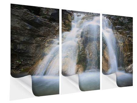 Klebeposter 3-teilig Imposanter Wasserfall