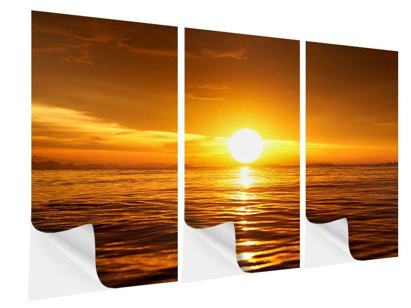 Klebeposter 3-teilig Glühender Sonnenuntergang am Wasser