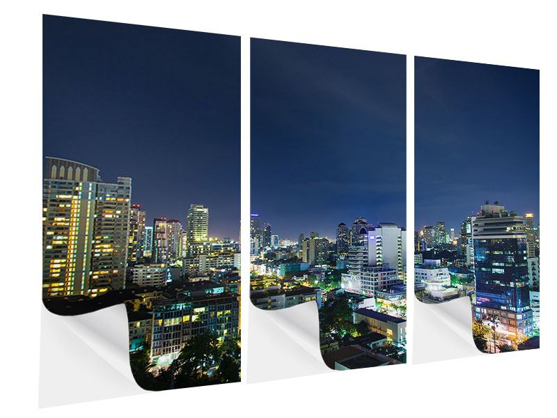 Klebeposter 3-teilig Skyline Nachts in Bangkok
