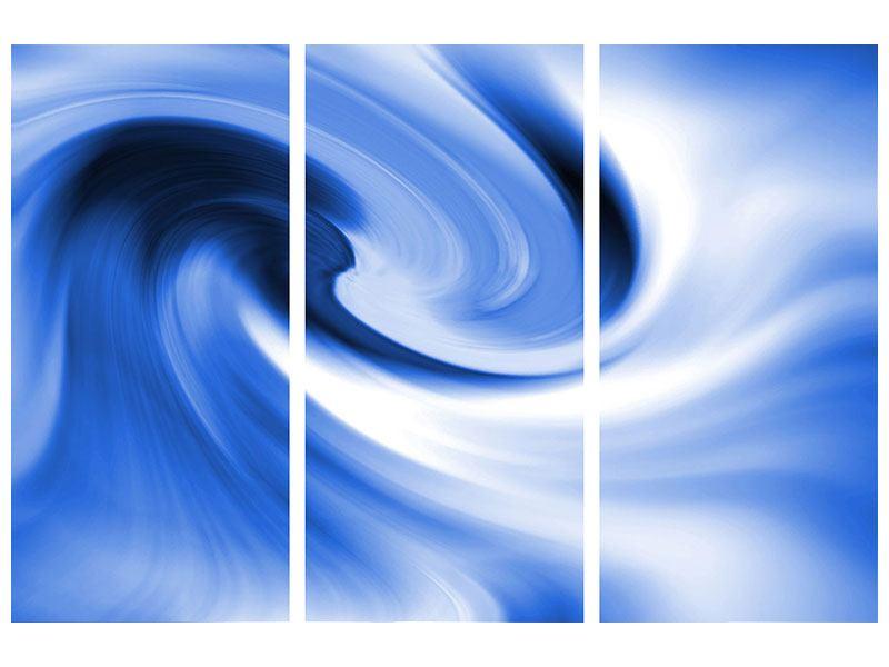 Klebeposter 3-teilig Abstrakte blaue Welle