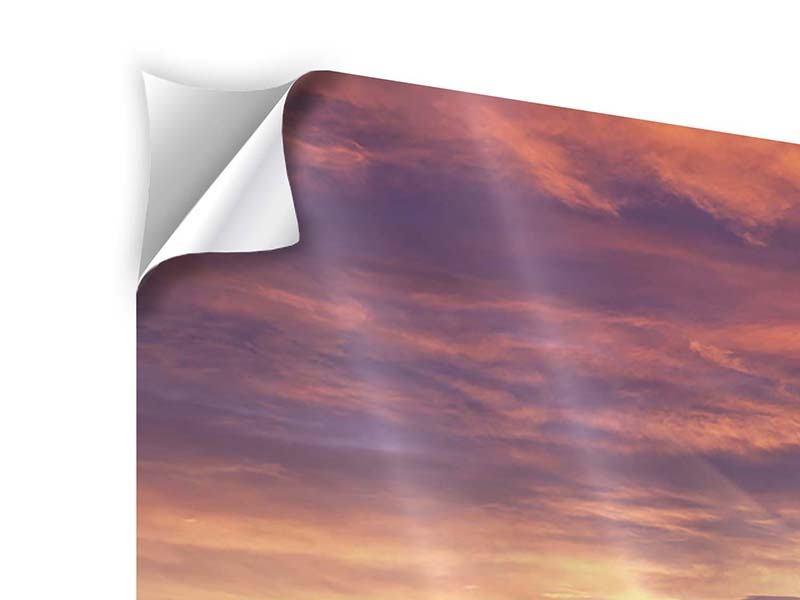 Klebeposter 3-teilig Sonnenaufgang Winterlandschaft