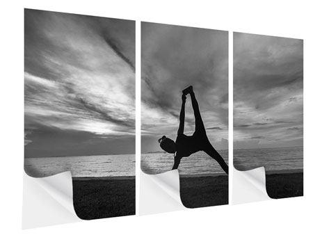 Klebeposter 3-teilig Yoga am Strand