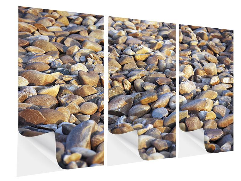 Klebeposter 3-teilig Strandsteine