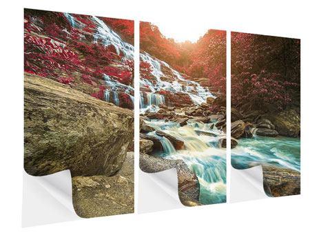 Klebeposter 3-teilig Exotischer Wasserfall