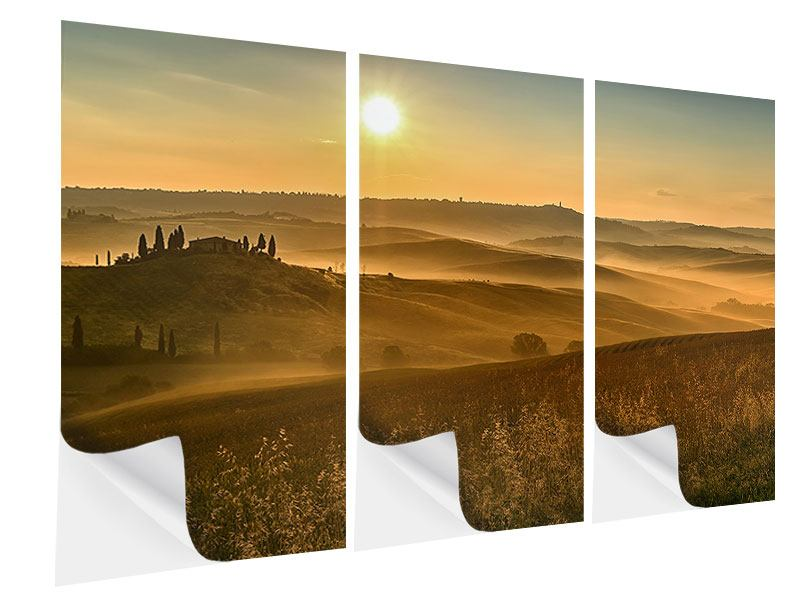 Klebeposter 3-teilig Sonnenuntergang im Gebirge