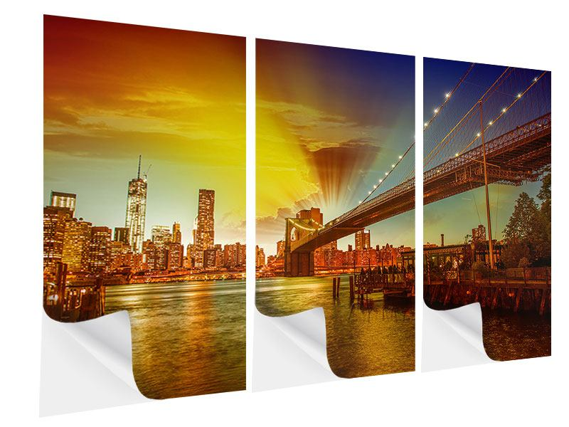 Klebeposter 3-teilig Skyline Brooklyn Bridge NY