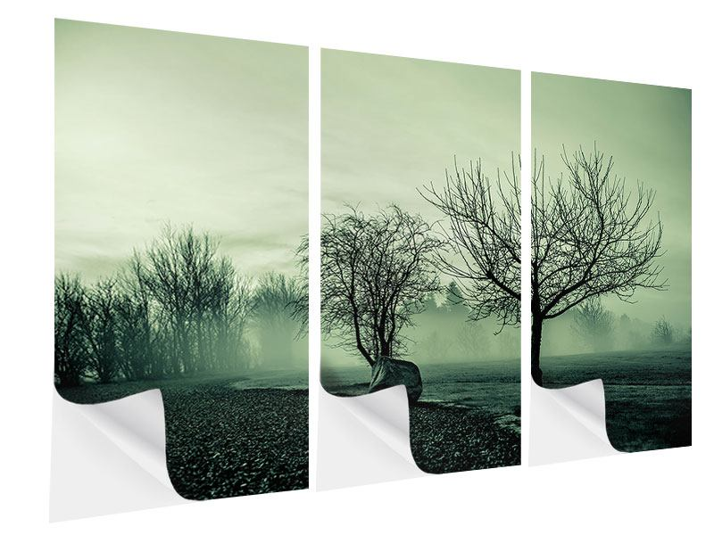 Klebeposter 3-teilig Der Auwald im Nebel