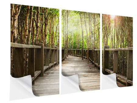 Klebeposter 3-teilig Hölzerne Brücke