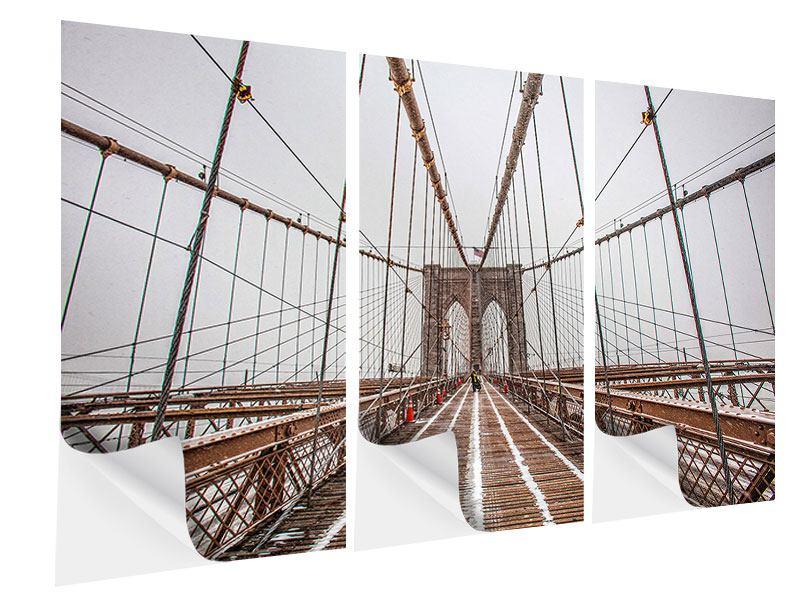 Klebeposter 3-teilig Auf der Brooklyn Bridge