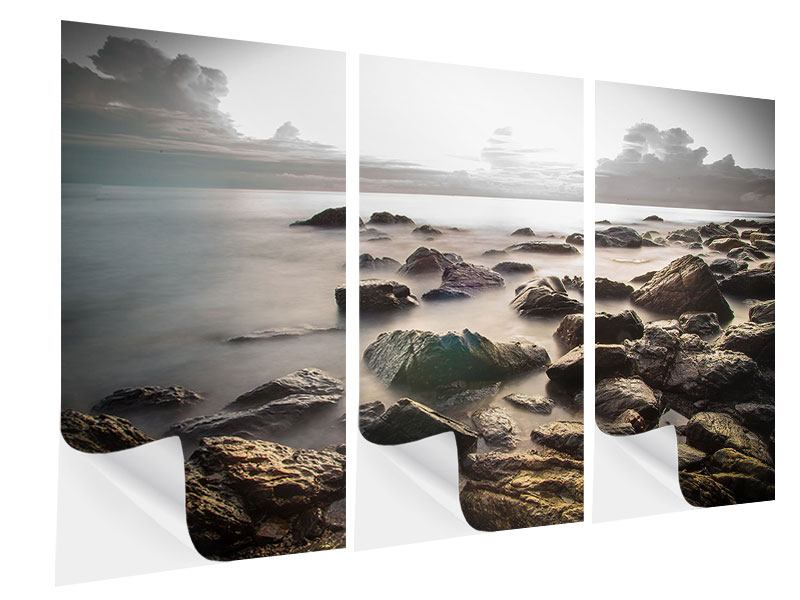 Klebeposter 3-teilig Steine am Strand