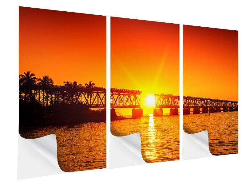 Klebeposter 3-teilig Sonnenuntergang an der Brücke