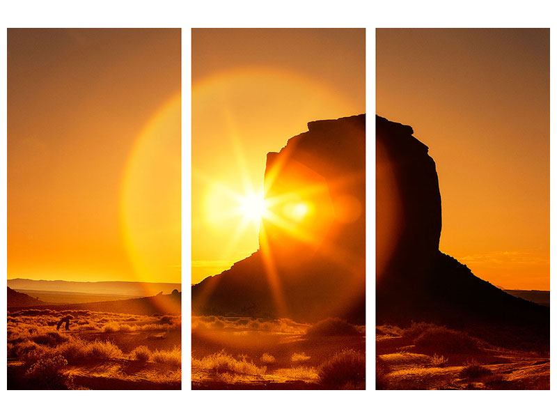 Klebeposter 3-teilig Sonnenuntergang Monument Valley