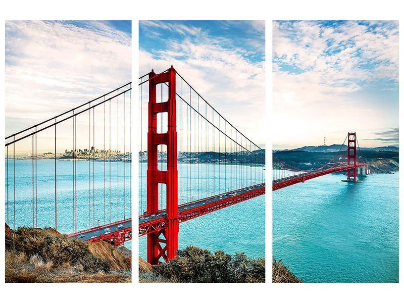 Klebeposter 3-teilig Golden Gate Bridge
