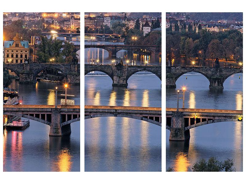 Klebeposter 3-teilig Brücken in Prag