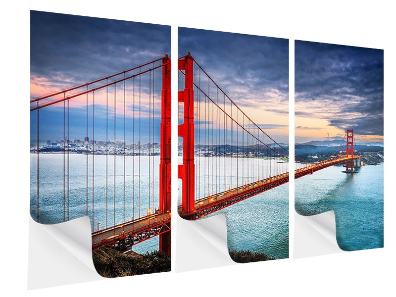 Klebeposter 3-teilig Der Golden Gate Bridge bei Sonnenuntergang
