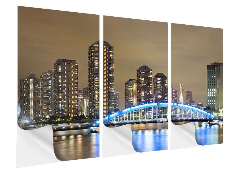 Klebeposter 3-teilig Skyline Tokio in der Nacht
