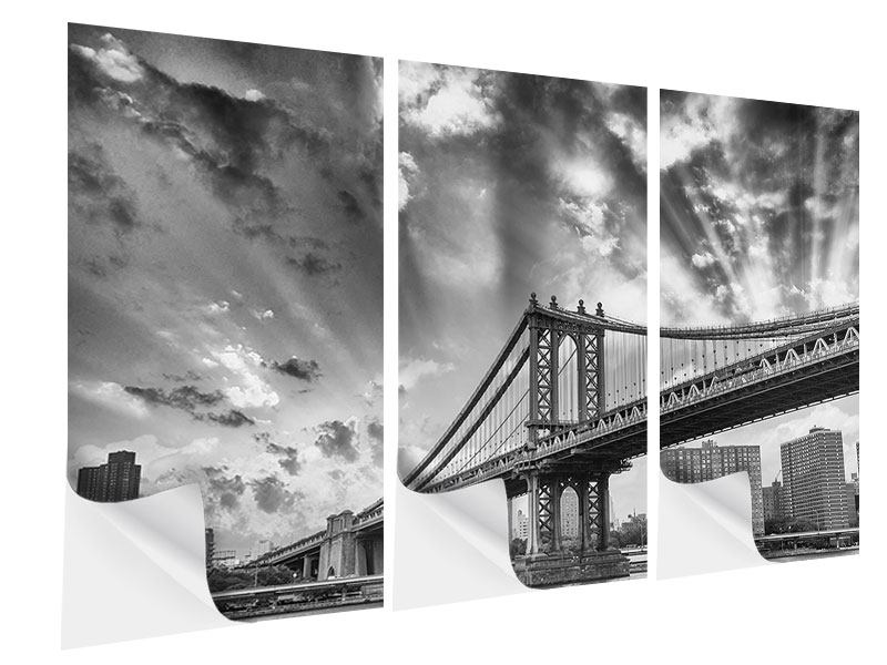 Klebeposter 3-teilig Manhattan Bridge