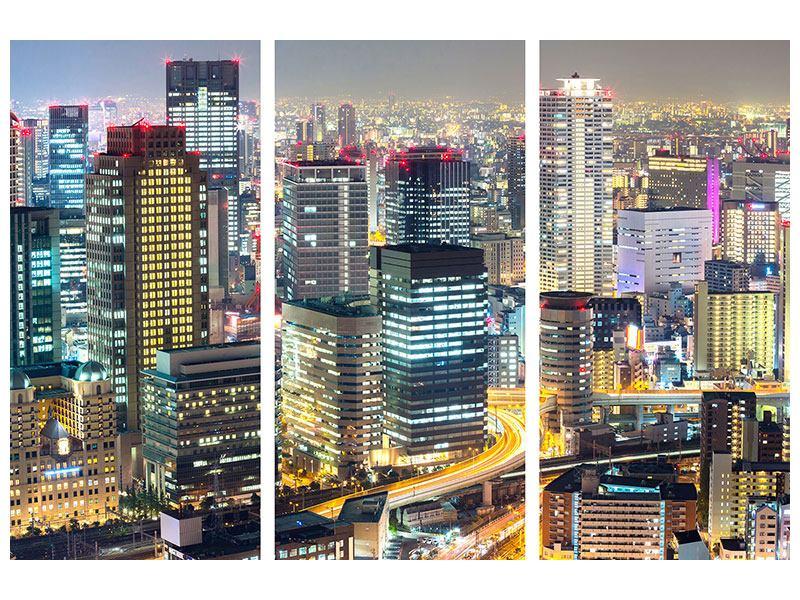 Klebeposter 3-teilig Skyline Osaka im Lichtermeer