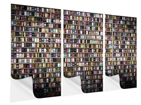 Klebeposter 3-teilig Bücherregal